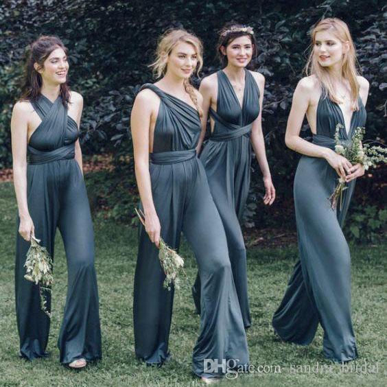 2018 nouvelle arrivée convertibles demoiselle d'honneur combinaisons en mousseline de soie dos nu pays demoiselles d'honneur robes plissées demoiselle d'honneur robes pour les mariages