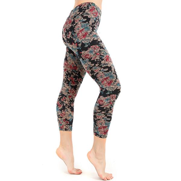 Mulheres calças justas desgaste fora esporte lazer leggings estilo quente floral impresso ginásio leggins sexy sliming yoga calças gm082
