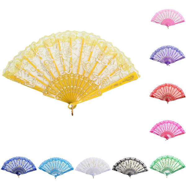 Folding Hand Held Dance Fans Spanish Lace Fabric Silk Flower Party Wedding Prom New Arrival