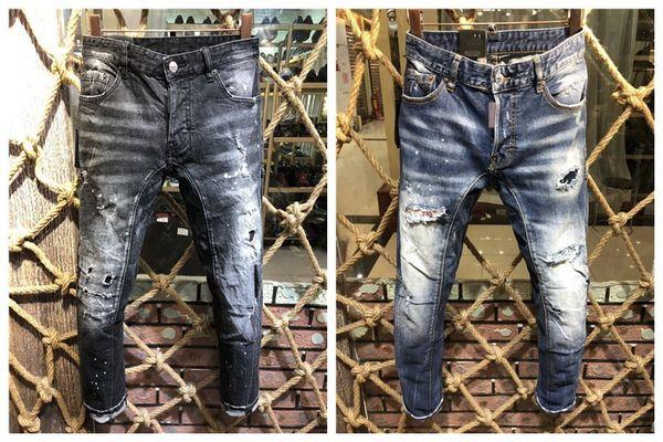 Vendita di 2018 nuovi jeans moda uomo nero blu, jeans slim essenziali da uomo alla moda. Jeans Scrap tagliati da uomo