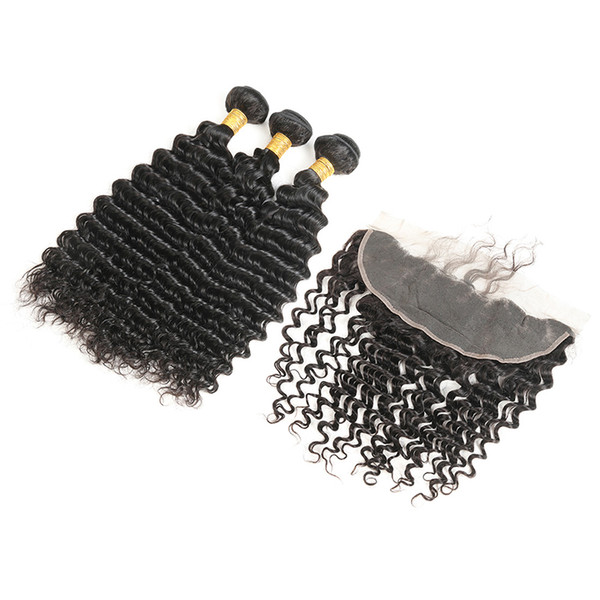 3Pcs Peruvian Remy Human Hair Bundles With Frontal 100% Human Hair Extensions No Shedding No Tangles Free Shipping