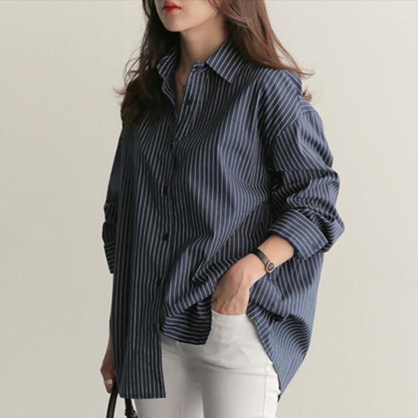 32d04e30a1e81 Primavera Outono Mulheres Blusa Com Decote Em V Longo Manga Camisas de  Trabalho Mulheres Escritório Tops Listrado Blusa Branca