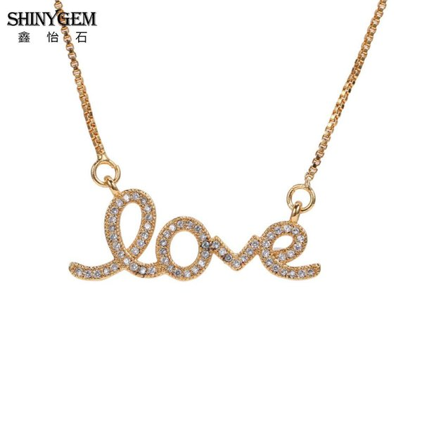 ShinyGem Rhinestone Love Pendant Necklace Sweet Design Gold Necklace For Women Box Chain Match Lobster Clasp Girl Gifts