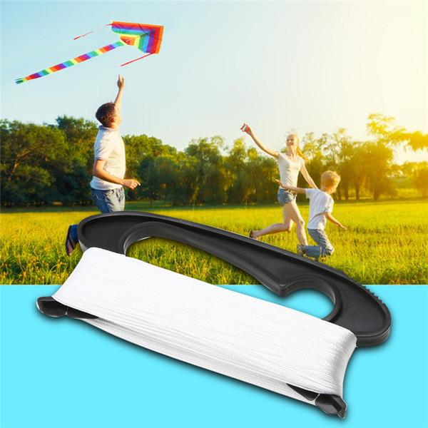 100 M Blanc Flying Kite Ligne Sports de Plein Air D Forme Noir Ligne Conseil Flying Kite Outils Haute Qualité En Plastique Polyester