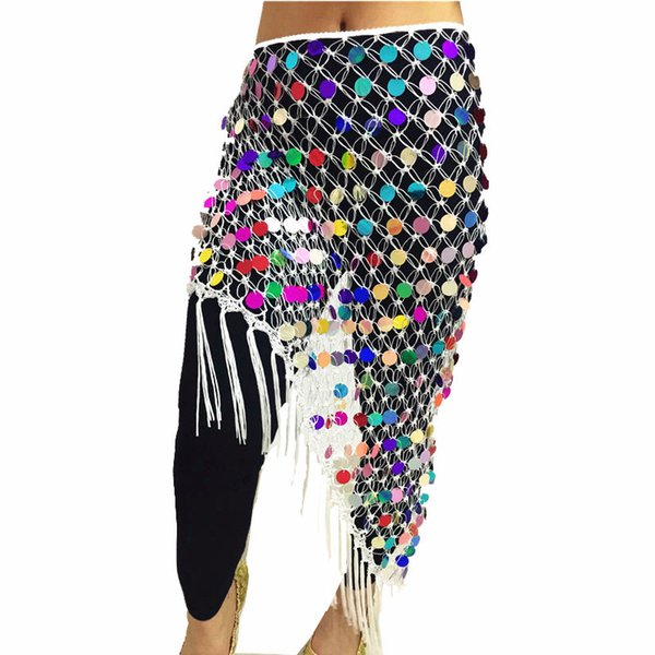 Cheap Belly Dance Clothes Accessories Stretchy Long Tassel Triangle Belt Hand Crochet Sequin Belly Dance Hip Scarf Coin Belt