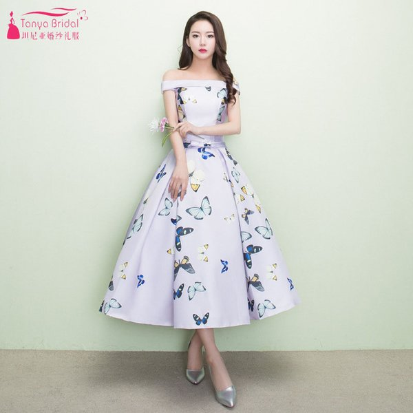 Printed Tea Length Homecoming Dresses Boat Neck butterfly Satin Back To School Formal Party Gowns Lace Up Cheap Festa ZHM044