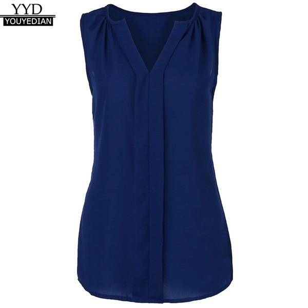 2323221684d407 Plus Size 5XL Summer Tank Tops For Women 2018 Chiffon EleSolid V Neck Sleeveless  Top Tunic T Shirt Clothes Women