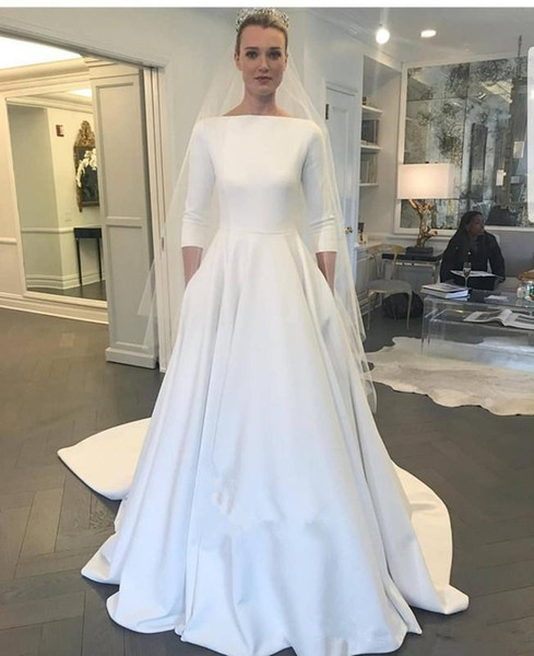 Muslim Style Satin Wedding Dresses 2019 Custom Made New Simple Court Train Bateau Neck 3/4 Long Sleeve A-Line Vintage Bridal Gowns W035