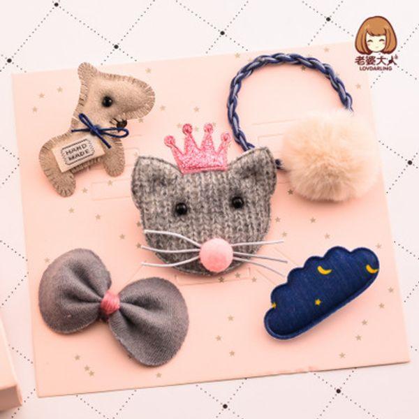 Handmade fluffy ball, hair, hair, money, fox, felt, pony, bow, hairpin, hairpin, set, jewelry, gift box.