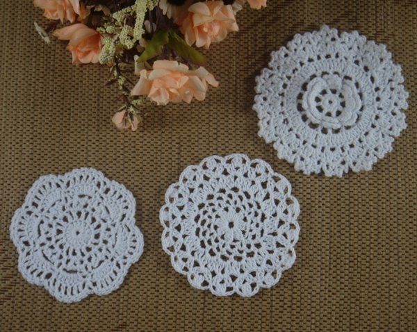 Table Topper Centerpiece Handmade Doily Flower Doily 9 inches Cotton Doily Round Doily Halloween Decor Orange Small Crochet Doily