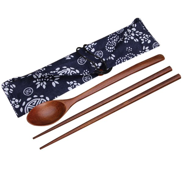 1 Pairs Chopstick +1 spoons Handmade Japanese Natural Wood Chopsticks spoon Set with Gift Pocket Bamboo Chopstick DROP SHIP