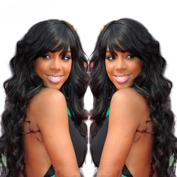 Lace Front Human Hair Wig Natural Wave With Bangs Wavy Malaysian Virgin Hair Pre Plucked Hairline 150 Density Full Lace Wig Bleached Knots
