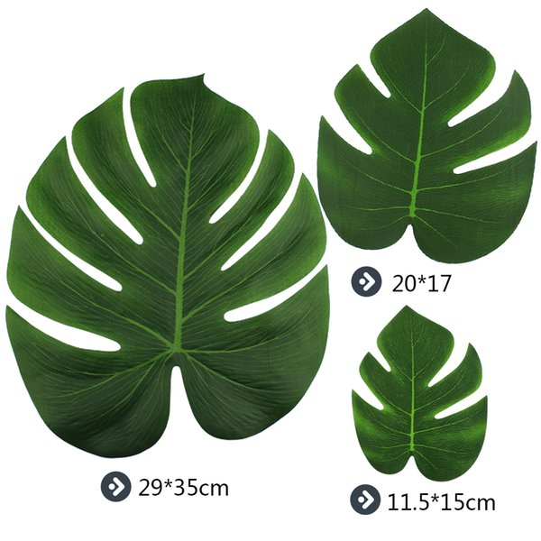 12pieces Palm Leaves Artificial Turtle Leaf For DIY tropical Hawaiian Theme Party Home Garden Wedding decoration 20*17cm