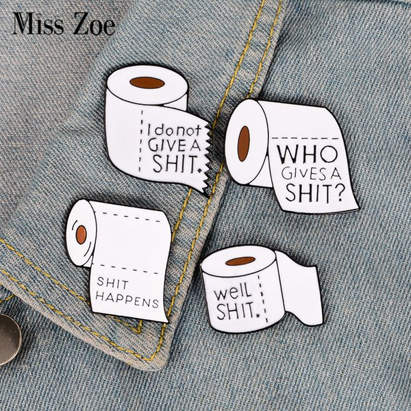 4styles Roll paper enamel pin Funny shit Brooch Gift for friend Punk icon Pin Badge Button Lapel pin for Clothes Jeans cap bag