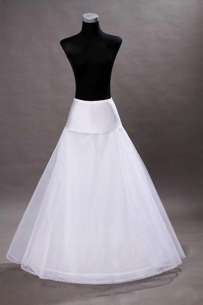 2019 Elastische Taille Weiß Braut A-Linie Petticoats Krinoline Bodenlangen Hochzeitskleid Unterrock Tüll