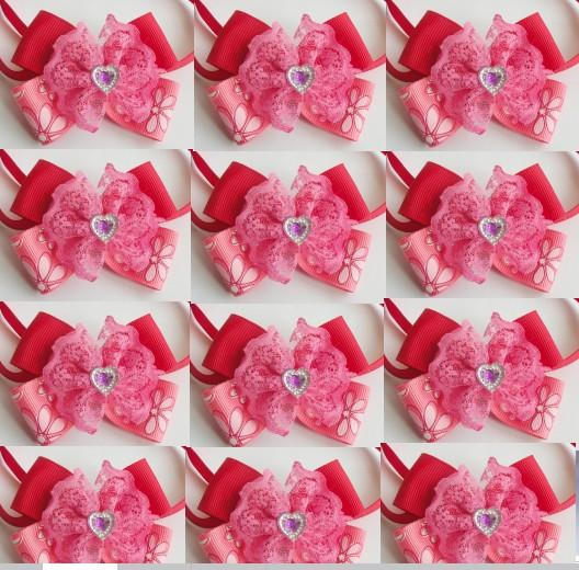50pcs/Lot Big sale Girl Pet Dog puppy Cat red love heart Diamond Bow Ties Neckties Bowknot Valentine Lover Grooming Product L01
