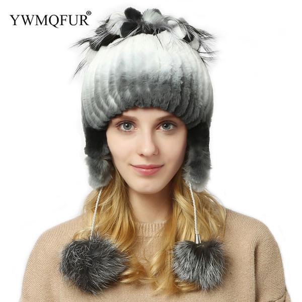 Winter Bomber Hats For Women Ear Protection Female Beanies Warm Caps Rex Rabbit Fur Ladies Girl Hat 2018 New Arrival YWMQFUR