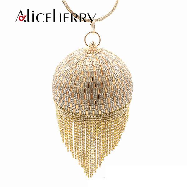 Mujeres Boda Nupcial Embrague Golden Crystal Diamond Tassel Ring Tarde Embragues Monederos Muñequeras Bolsos Señora Circular bolsa de cuentas