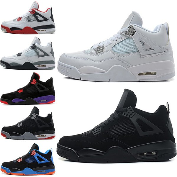 New Cheap Pure Money 4 mens Basketball shoes 4s White Cement Raptors Bred OREO Cactus Jack Black Cat designer Sports sneakers 7-13