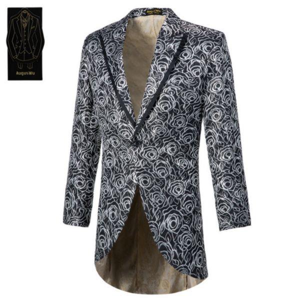 Men's single button tuxedo suit two-piece suit (jacket + pants) men's fashion slim snake skin pattern suit support custom