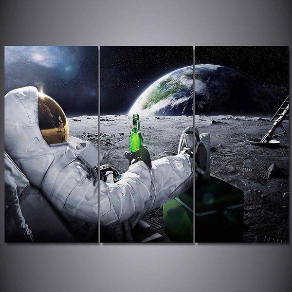 3 Stücke Gedruckt Malerei Astronaut Mond Malerei Leinwand Kunst Wandbild Dekoration für Wohnzimmer NP-161