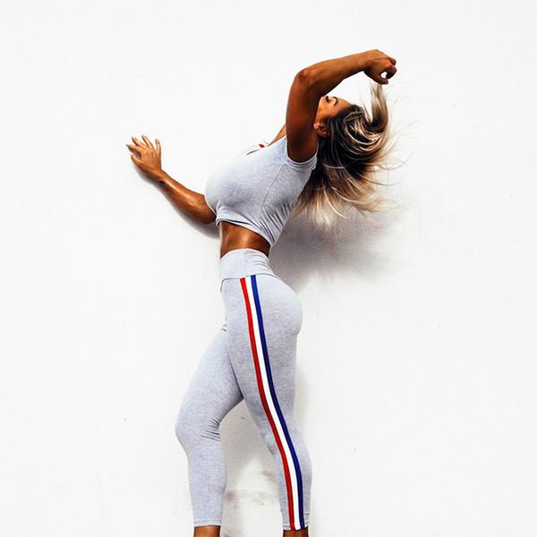 2018 Solid Yoga Women Sport Suit Legging Top Fitness Strap Tights Body-building Yoga Set Sports Women Short Sleeves Set