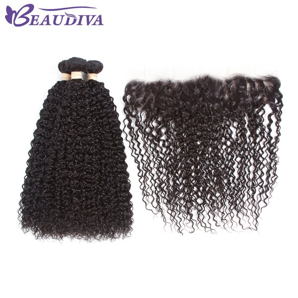 Malaysian Virgin Hair Curly Weave With Lace Front 4 Pcs Mlalaysian Virgin Kinky Culry Human Hair With Lace Closure 13*4