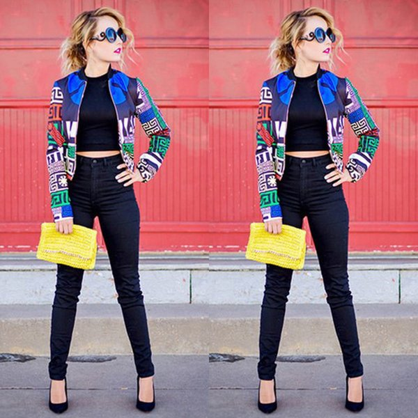 Hirigin 2017 Moda Donna Street Style Jacket Pattern Clipping Distribuzione casuale Cool Zipper Giacca donna Giacca bomber S18101104