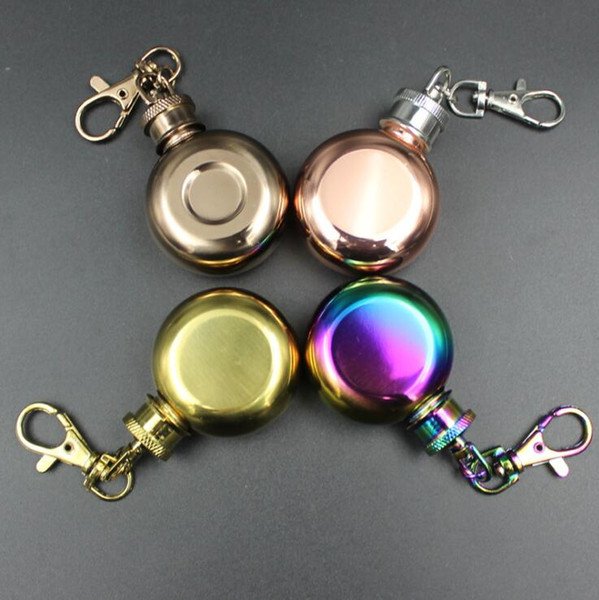 1oz Mini Stainless Steel Round Hip Flask with Keychain Liquor Alcohol Whiskey Wine Pot Small Flasks Drinkware OOA5354