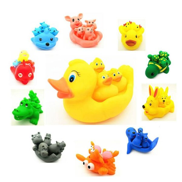 Four in one Cute Little Yellow Duck Voice children bath Rubber Duck Baby Shower Birthday Gift Kids Bath Toys Squeeze-sounding Toys