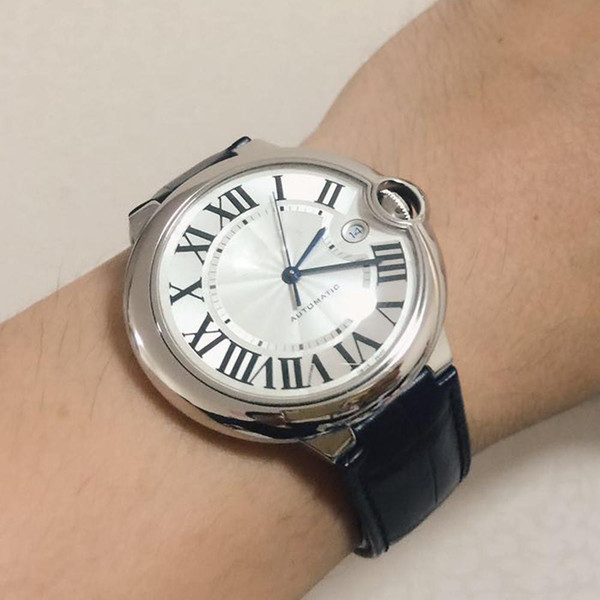 Nouvelle vente Mens Watch Car 100 XL Montre automatique BALLON en cuir noir visage blanc 316 acier délicat boîtier Montre de sport montre homme