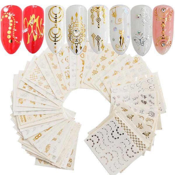 30 folhas nail art sticker 3d prata ouro metálico dream catcher cat natural padrões de flor de transferência de água manicure diy decalques novo