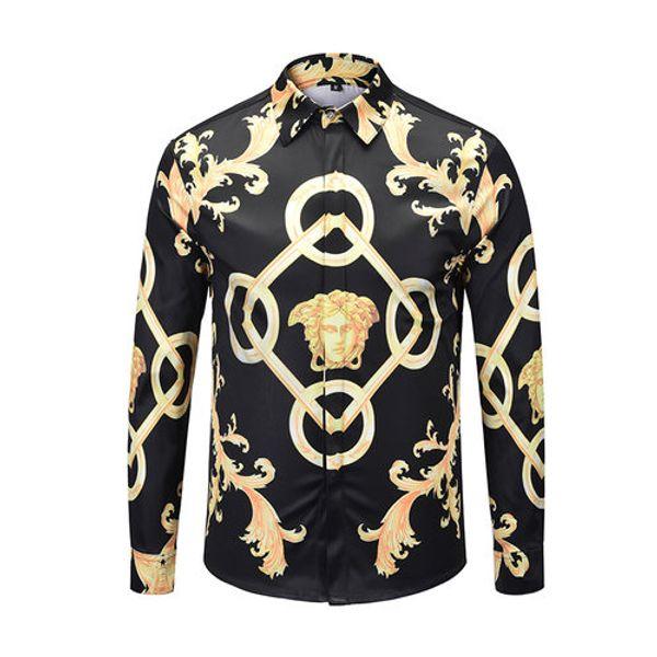 Großhandel ktv Berühmte Marke design kleidung männer galaxy golden drachen blumendruck langarm hemd 3d Barock druck Medusa Shirt