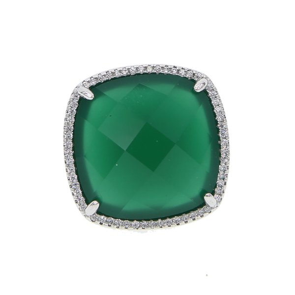 Antique Vintage Big green cz Stone Crystal square cut Rings For Women Wedding golden Fashion band finger ring jewelry 2018 NEW
