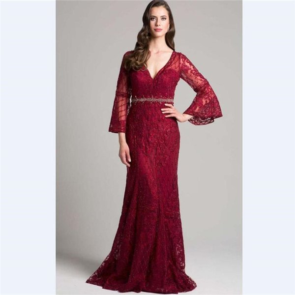 2018 Elegant Red Lace Mermaid Mother's Dresses Custom 3/4 Sleeves Beads Mother Of the Bride Dress With Belt V Neck Prom Gowns