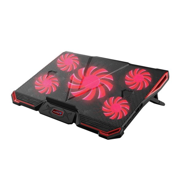 CoolCold Laptop Cooling Pad Notebook PC Cooler Air-cooled 5 LED Fans 2 USB Ports Adjustable Holder for 12-17 inch Laptop