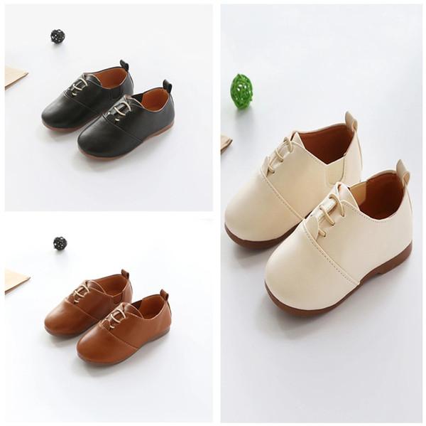 Bebek Çocuk Ayakkabıları En Yeni İlkbahar Sonbahar Koreli Çocuk Sneaker İngiliz Stil Yumuşak Alt PU Deri Ayakkabı Bebek Prenses Bebek Ayakkabı 1-6T