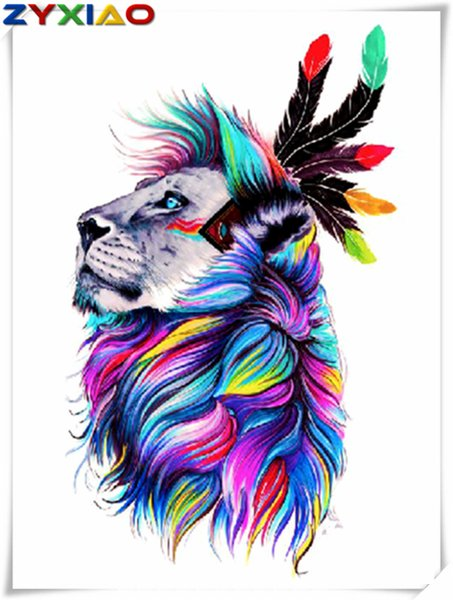 5D Diy diamond painting cross stitch kit full round&square diamond embroidery animal color lion home mosaic decor gift wisdom toy AA0764