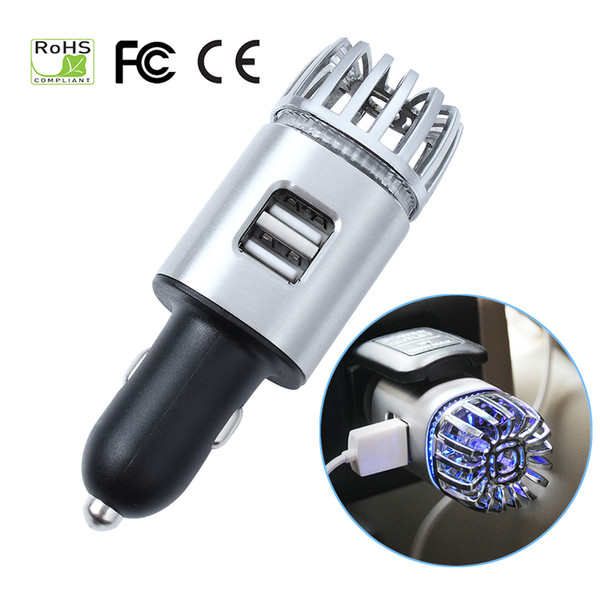 best selling 2-in-1 Ionic Car Air Purifier Dual USB Charger 12(V) Ionizer With Blue LED Light Car Air freshener For Removing Smoke Dust Odor