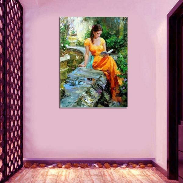 Top Handgemalte Hohe Qualität Eindruck Schöne Dame Ölgemälde für Wandkunst Handgemachte Schönheit Frau Ölgemälde Bilder
