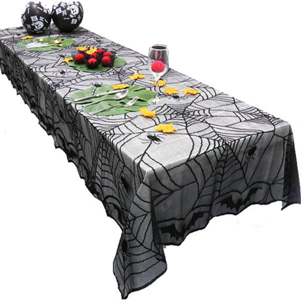 122*244CM Helloween Tablecloths Lace tablecloth black table cover Spider Bat Halloween Tablecloth 48*96inch large size home decoration