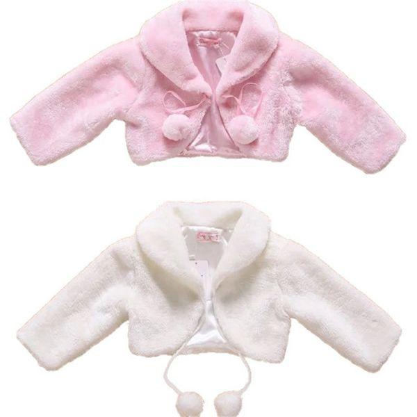 New Flower Girls Bolero Wedding Party Faux Fur Wedding Bridal Coat Evening Kids Jacket Fall Winter Shrug Jackets In Stock