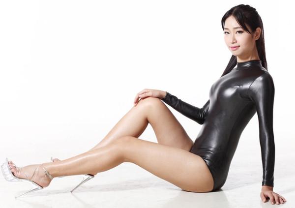 200D латекс сексуальный боди комбинезон стринги тела костюмы для женщин с длинным рукавом клуб одежда тела Ночь танец одежда экзотический стиль