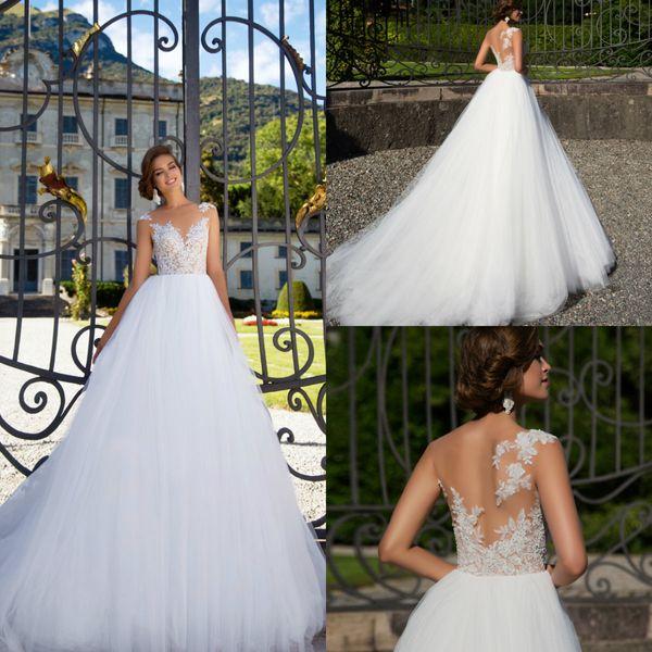 2018 robes de mariée Milla Nova Boho Une ligne dentelle Appliques balayage train sans manches plage robes de mariée balayage train plus la taille robe de mariée