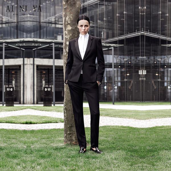 Black New Designs Women Business Suits Two Piece Ladies Formal Pant Suit Office Uniform Blazer For Work Wear Female Trouser Suit