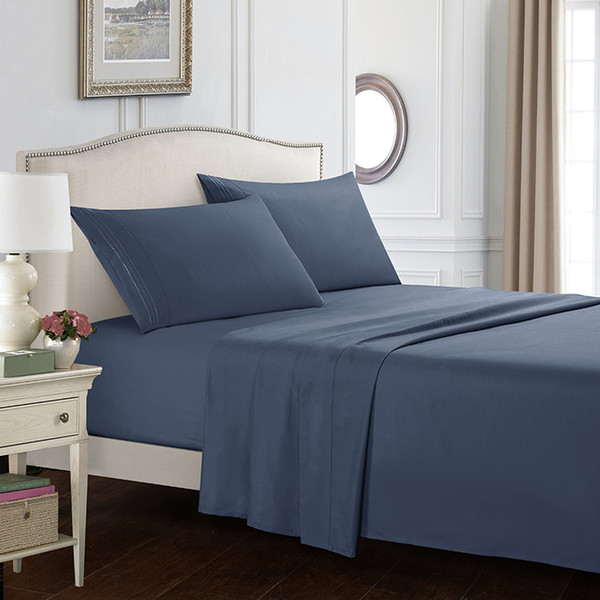 Home textile solid color kit bedding set of four plain three-line embroidery sanding simple atmosphere comfortable and delicate
