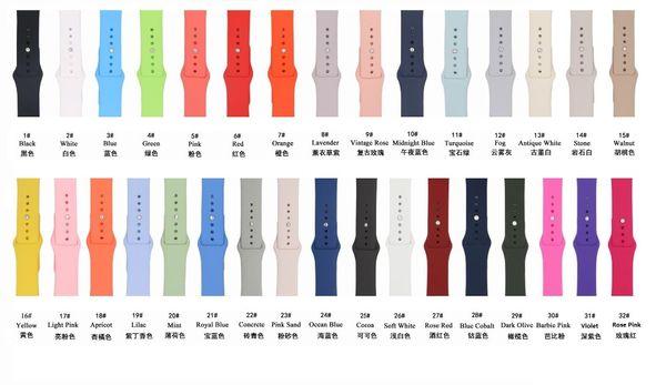 32 colores correa de silicona para Apple Watch Band 44mm / 42mm 40mm / 38mm Series 4/3/2/1