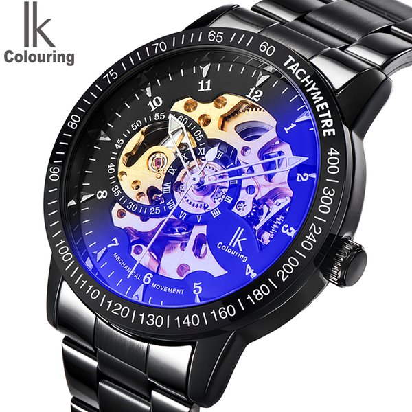 Watch Mens IK Colouring Fashion Mechanical Skeleton Watch Auto Stainless Steel Men's Watches Wristwatch Montre Homme D18100706
