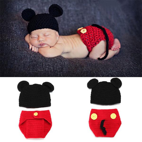 Neugeborenen Strickkostüm Baby Boy Crochet Fotografie Requisiten Baby Outfits Cartoon Design 0-3Months