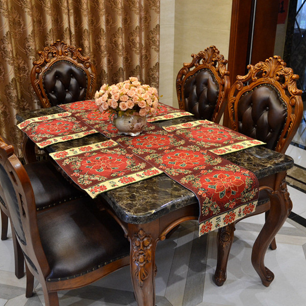 top popular 5PCS Christmas Table Runner and Placemats Set Cotton Polyester Jacquard Runner 13*71 Inch Table Cloth Runner for Wed Party Coffee Dining 2019